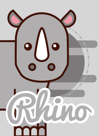 rhino cartoon poster african animal vector illustration 向量圖像