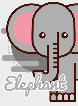 elephant cartoon poster african animal vector illustration Ilustração