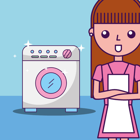 Laundry cleaning cleaner girl washing machine vector illustration Illustration