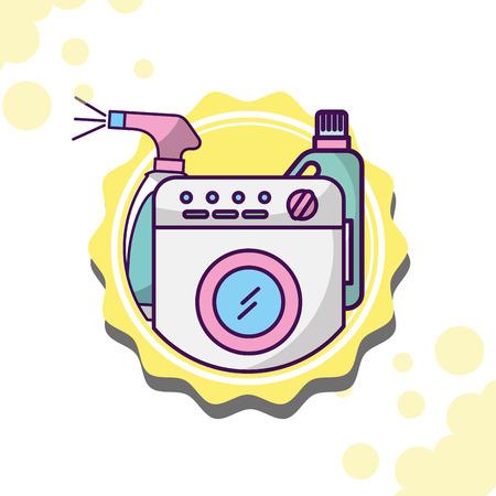 Laundry cleaning washing machine bottle detergent spray vector illustration