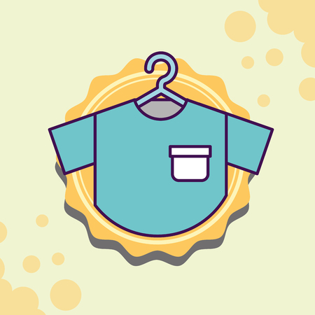 Laundry cleaning t-shirt hanging textile vector illustration