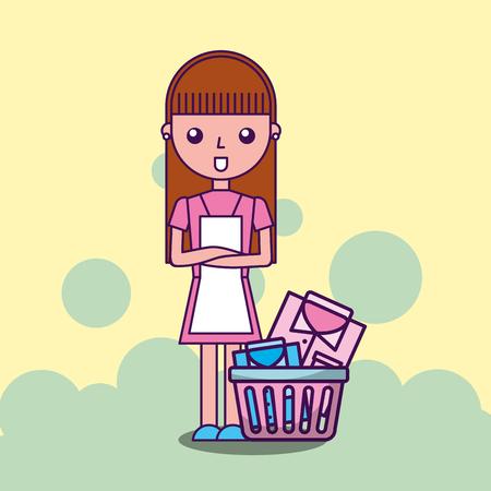 laundry cleaner girl cartoon with basket shirts vector illustration Illustration