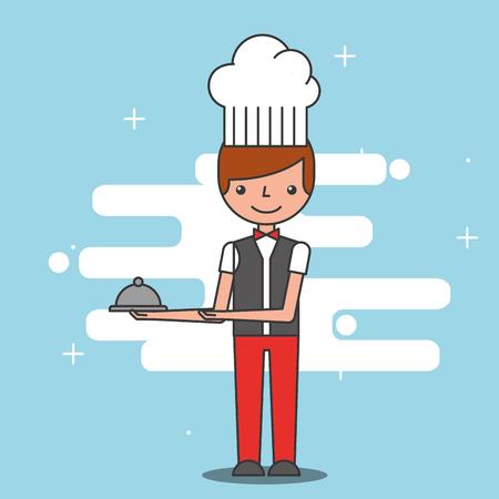 Restaurant waiter hotel service image vector illustration