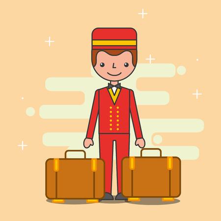 Bellboy baggage hotel service image vector illustration