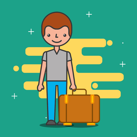Cartoon man customer and bag hotel service vector illustration