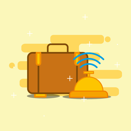 Hotel service suitcase baggage and bell vector illustration Illustration