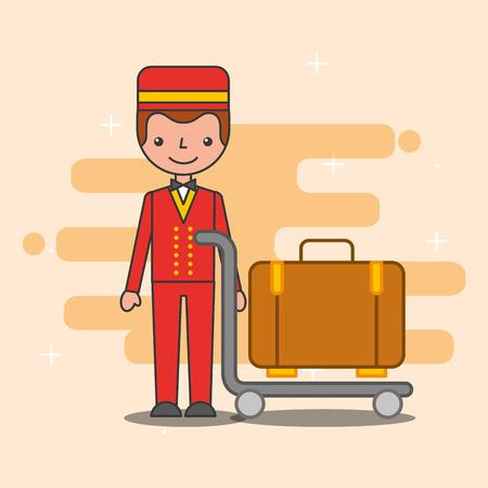hotel service bellboy trolley luggage vector illustration