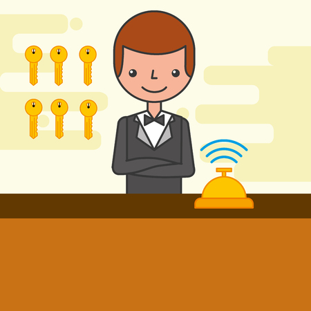 hotel reception counter with employee and bell bedroom keys vector illustration Ilustração