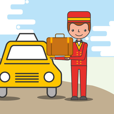 hotel service taxi cab bellboy with suitcase vector illustration