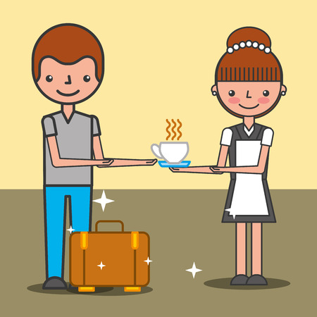 maid woman giving coffee cup at customer hotel service vector illustration