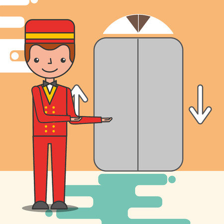 hotel service elevator with bellboy porter vector illustration