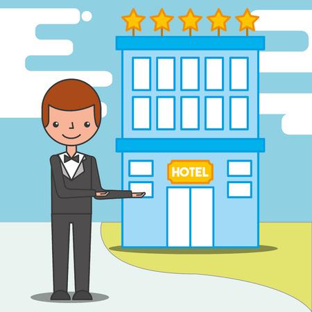 man manager five stars hotel service vector illustration Illustration