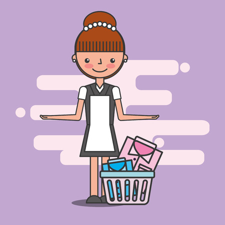 maid woman with basket laundry hotel service vector illustration Illustration
