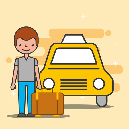 Hotel service taxi and customer with suitcase vector illustration Archivio Fotografico - 100950370