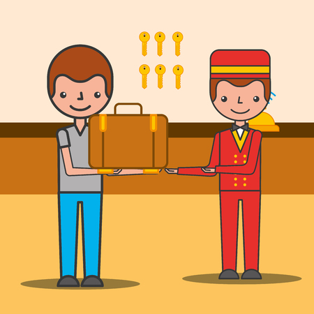 Customer man with suitcase and bellboy hotel service vector illustration Illustration