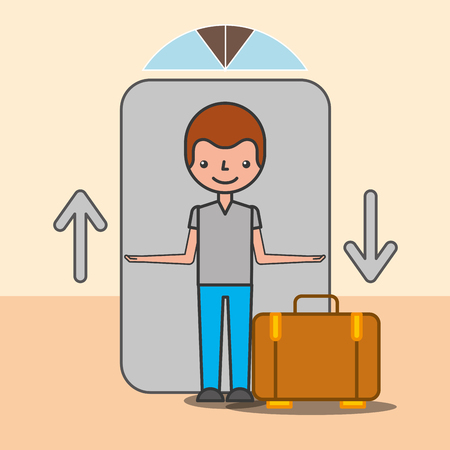 Customer man in elevator with suitcase hotel service vector illustration