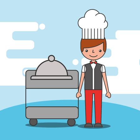 Waiter boy tray service restaurant vector illustration