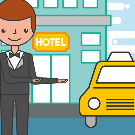 hotel service manager man and taxi car vector illustration Stock Illustratie