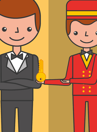hotel manager man and bellboy with room key vector illustration
