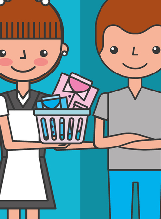 female maid holds laundry basket and customer man hotel vector illustration 向量圖像