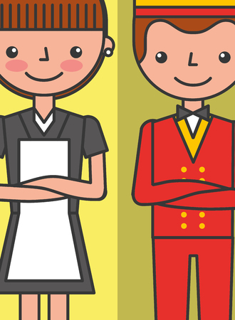 hotel staff maid and bellboy employees service vector illustration Ilustração
