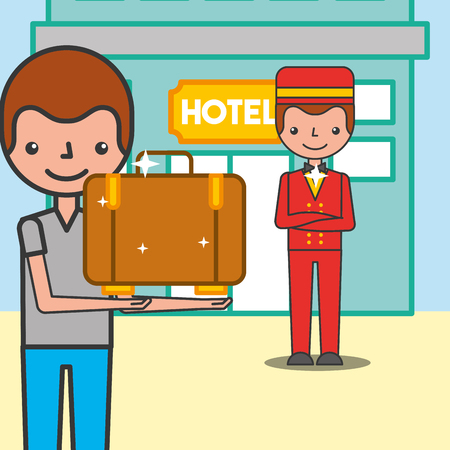 Customer man with suitcase and bellboy in hotel vector illustration