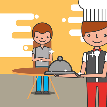 hotel service restaurant customer and waiter vector illustration Foto de archivo - 100958096