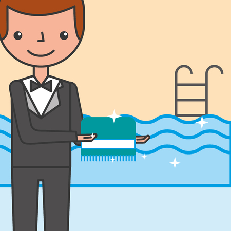 hotel service manager with clean towel pool vector illustration