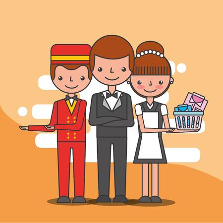 hotel staff employee maid bellboy and manager service vector illustration Illusztráció