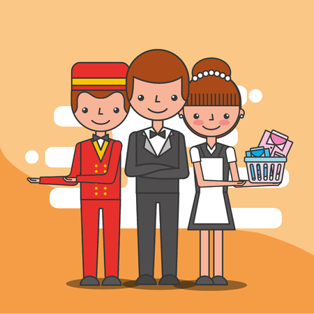 hotel staff employee maid bellboy and manager service vector illustration Illustration