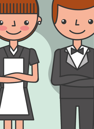 hotel manager man and maid woman professional vector illustration