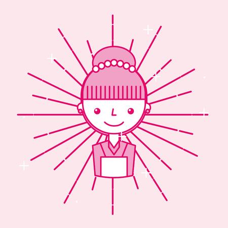 Female maid worker employee service cartoon vector illustration