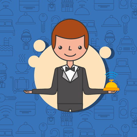 hotel manager man character professional work vector illustration