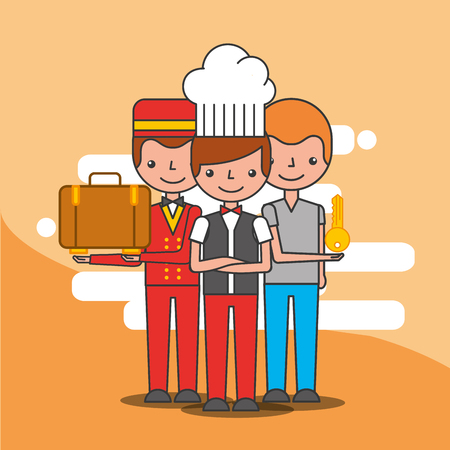 hotel waiter bellboy and customer character professional vector illustration