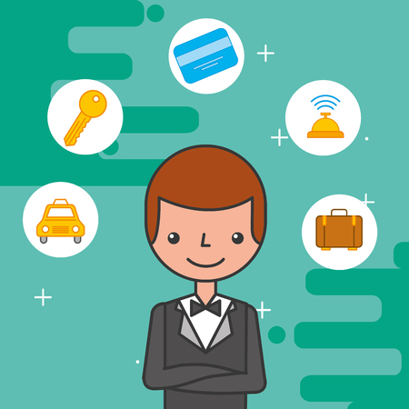 hotel manager character employee occupation vector illustration Illustration