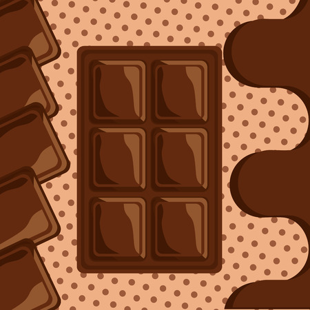 sweet chocolate bar melted dots background vector illustration