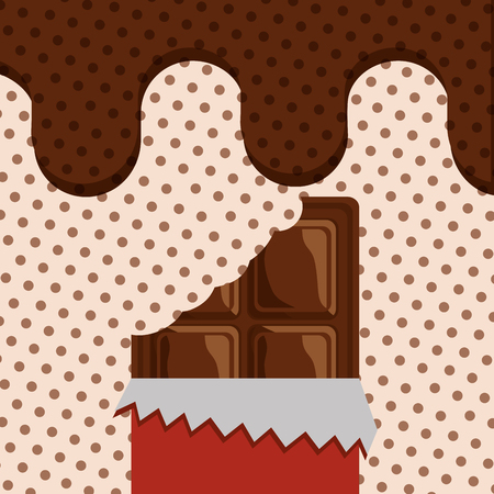 bite chocolate bar melted dots background vector illustration