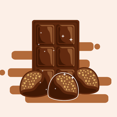 chocolate bar and candies with nuts dessert snack vector illustration Illustration