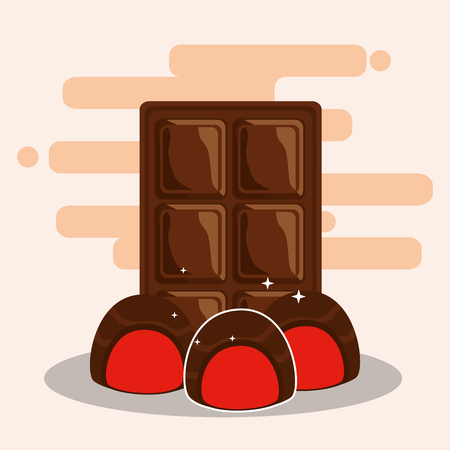 chocolate bar and candies sweet stuffed dessert snack vector illustration Illustration