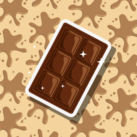 Delicious chocolate bar splash background vector illustration Stock Vector - 100950493