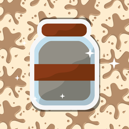 Chocolate glass jar product splash background vector illustration