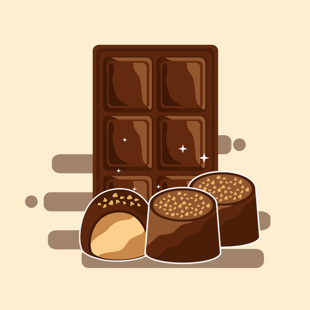 chocolate bar and candies dessert snack vector illustration