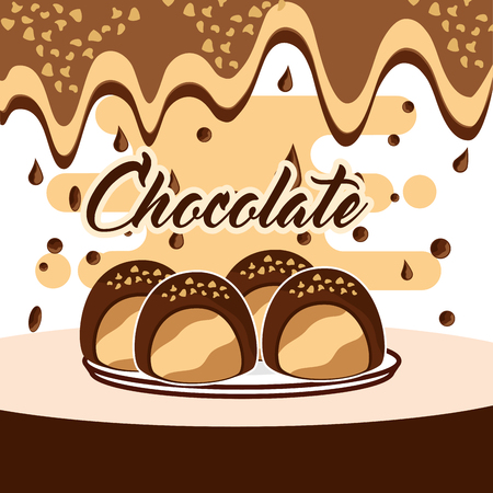 Sweet chocolate candy on dish melted drops background vector illustration