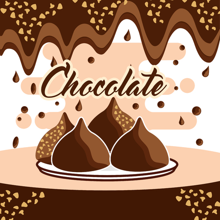 chocolate candy chips on dish melted drops background vector illustration