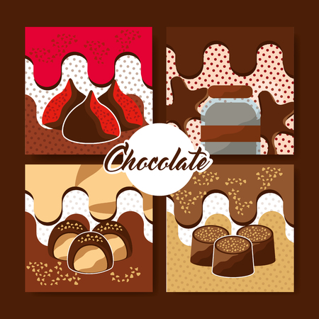 chocolate set of candies melted and dots style card vector illustration