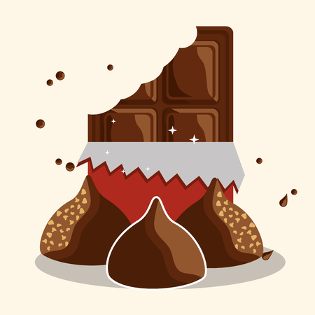 Chocolate bar bite sweet candies chips vector illustration  イラスト・ベクター素材