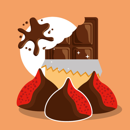 chocolate bar wrap and chips candy vector illustration