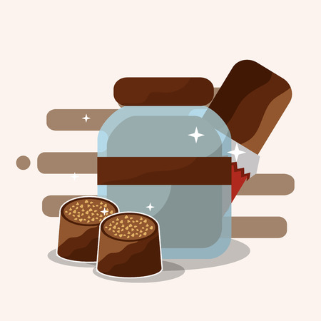 chocolate glass jar bar and candies vector illustration