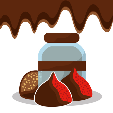 chocolate glass jar and chips candies sweet vector illustration