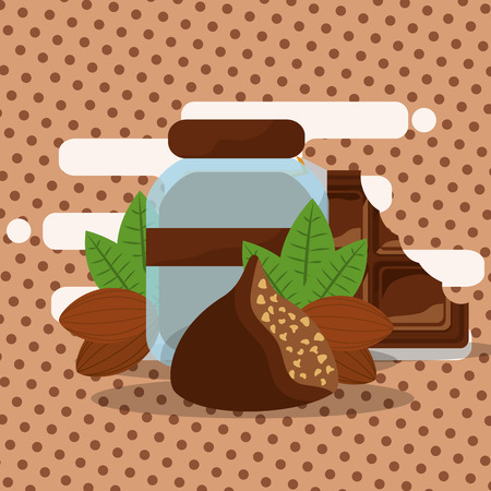 chocolate glass jar cocoa beans bite bar vector illustration Illustration